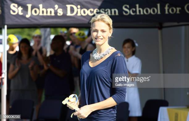 Former South African Olympic swimmer and future Princess of Monaco Charlene Wittstock officially opens a swimming pool during her visit St John's...