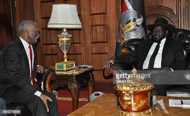 Former South African President and head of African Union HighLevel Implementation Panel Thabo Mbeki meets with the South Sudanese President Salva...