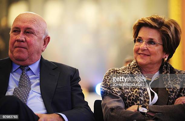 Former South African president and Nobel laureate Frederik Willem De Klerk and his wife Elita Georgiades attend the prize ceremony of British pop...