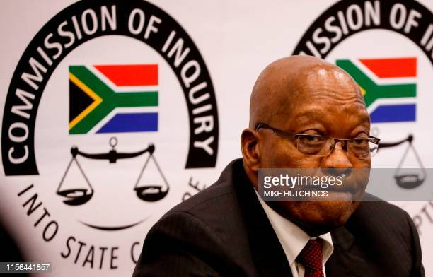 Former South African president Jacob Zuma appears before the Commission of Inquiry into State Capture that is probing wide-ranging allegations of...
