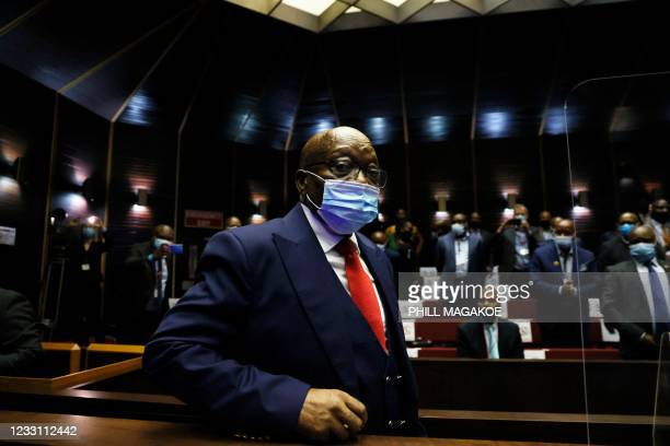 Former South African President Jacob Zuma arrives ahead of his corruption trial at the Pietermaritzburg High Court in Pietermaritzburg, South Africa,...