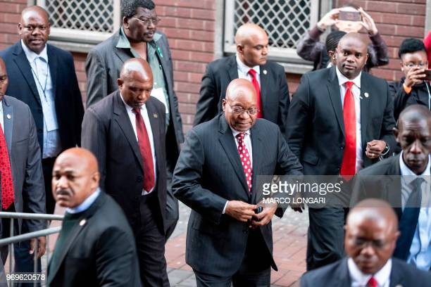 Former South African President Jacob Zuma arrives at the Durban Magistrate Court in Durban, on June 8, 2018 to face over 16 corruption charges.