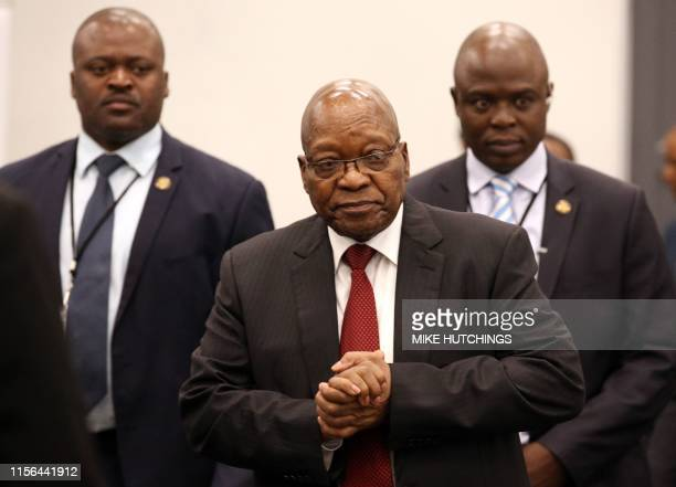 Former South African president Jacob Zuma arrives to appear before the Commission of Inquiry into State Capture that is probing wide-ranging...