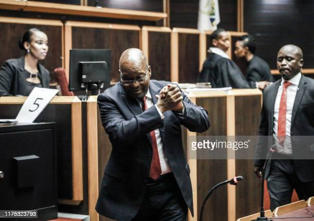 Former South African President Jacob Zuma is pictured at the High Court, where he is seeking a permanent stay of prosecution on charges of...