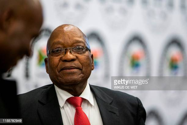Former South African president Jacob Zuma leaves the Commission of Inquiry into State Capture on July 15 2019 in Johannesburg where he faces tough...