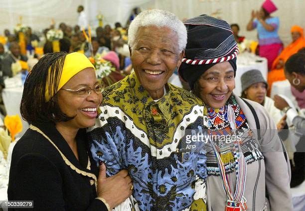 Former South African President Nelson Mandela celebrates his 86th birthday with his wife Graca Machel and ex wife Antiapartheid campaigner Winnie...