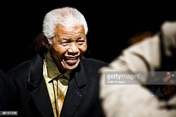Former South African president Nelson Mandela makes a surprise appearance at the University of Pretoria on April 24 2009 in Pretoria South Africa His...
