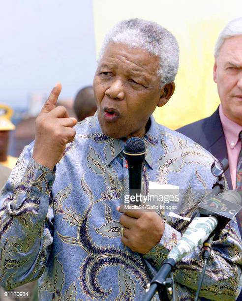 Former South African president Nelson Mandela speaks to the Sowetan youth about Aids Awareness