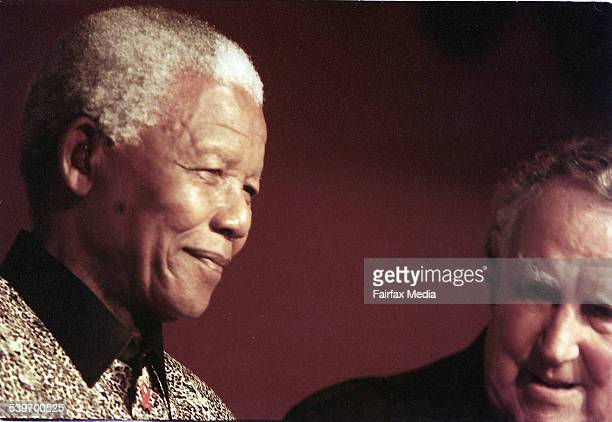 Former South African President Nelson Mandela with mountaineer Sir Edmund Hillary 3 September 2000 AFR Picture by TANYA LAKE