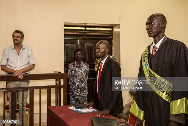 A former South African soldier William Endley who was hired in 2016 to advise former vice president and rebel leader Riek Machar stands up to hear...