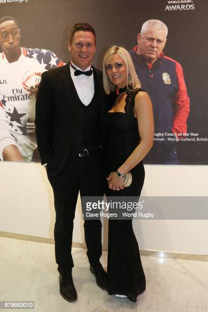 Former South African Springbok Jean de Villiers and his wife Marlie de Villiers attend the World Rugby via Getty Images Awards 2017 in the Salle des...