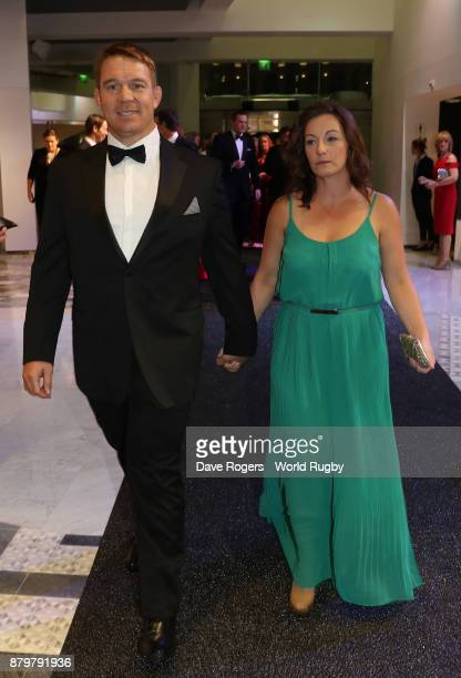 Former South African Springbok John Smit and his wife Roxane attend the World Rugby via Getty Images Awards 2017 in the Salle des Etoiles at...
