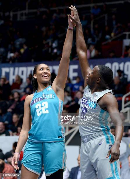 Former South Carolina Gamecocks women's player and current WNBA player for the Las Vegas Aces A'ja Wilson left jokes with James Shaw Jr right about...