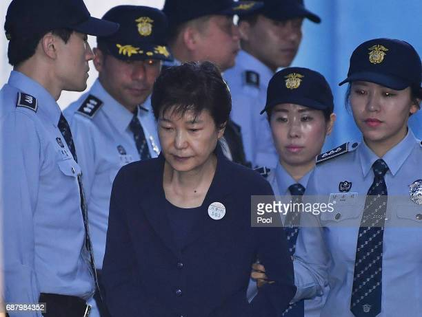 Former South Korea President Park Geun-hye arrives at the Seoul Central District Court on May 25, 2017 in Seoul, South Korea. Former South Korean...