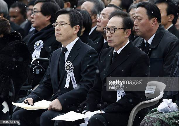 Former South Korean President Lee MyungBak and Prime Minister Hwang KyoAhn attend at the funeral ceremony of the deceased former President Kim...