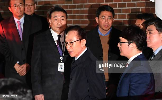 Former South Korean President Lee MyungBak leaves his residence as he is transferred to a detention house on March 23 2018 in Seoul South Korea South...