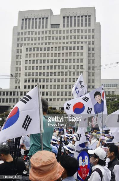 Former South Korean President Park Geun Hye's supporters take part in a rally held in front of the Supreme Court in Seoul on Aug 29 2019 to appeal...