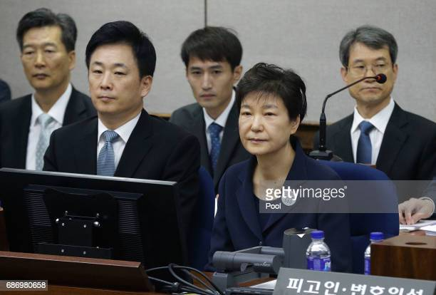 Former South Korean President Park Geun-hye sits for her trial at the Seoul Central District Court on May 23, 2017 in Seoul, South Korea. Former...