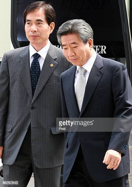 Former South Korean President Roh Moo-hyun appears at the Supreme Prosecutors' office for questioning on April 30, 2009 in Seoul, South Korea. Roh,...