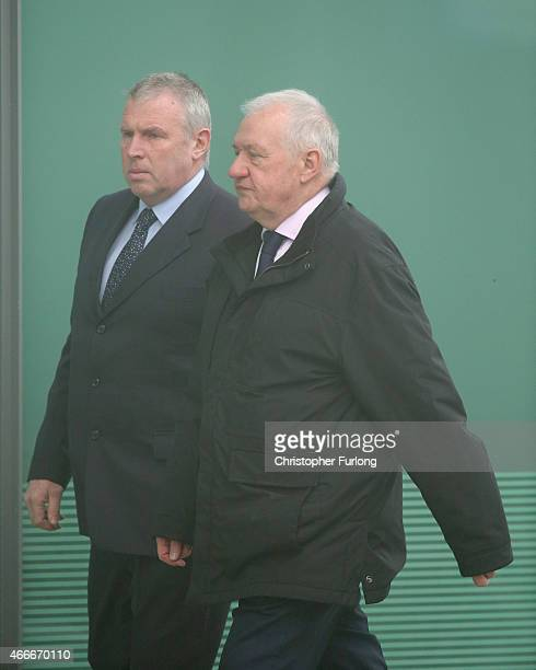 Former South Yorkshire Police Chief David Duckenfield is escorted by security as he arrives to give evidence at the Hillsborough Inquest at the...