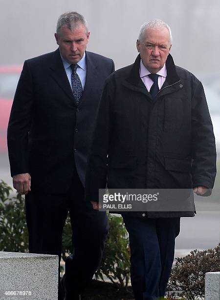 Former South Yorkshire Police chief superintendent David Duckenfield arrives at the coroner's court in Warrington northwest England on March 18 2015...