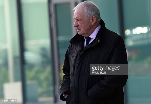 Former South Yorkshire Police chief superintendent David Duckenfield leaves the coroner's court in Warrington northwest England on March 18 2015...