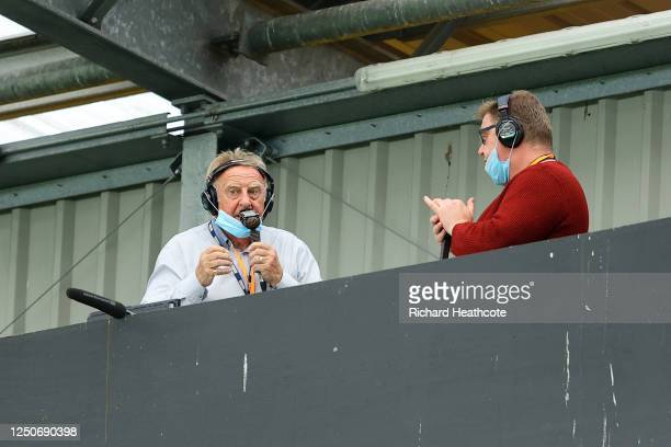 Former Southampton Manager Dave Merrington and BBC Radio presenter Adam Blackmore are seen broadcasting on the radio prior to the Premier League...