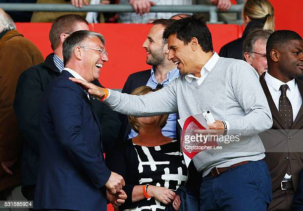 Former Southampton manager Nigel Adkins and Wales manager Chris Coleman greet prior to the Barclays Premier League match between Southampton and...