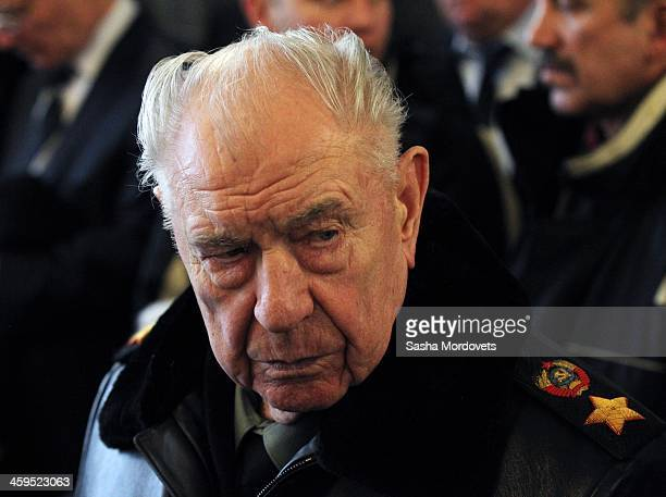 Former Soviet Defence Minister Marshal Dmitry Yazov attends the funeral ceremony for Mikhail Kalashnikov at the Federal Military Memorial Cemetery...