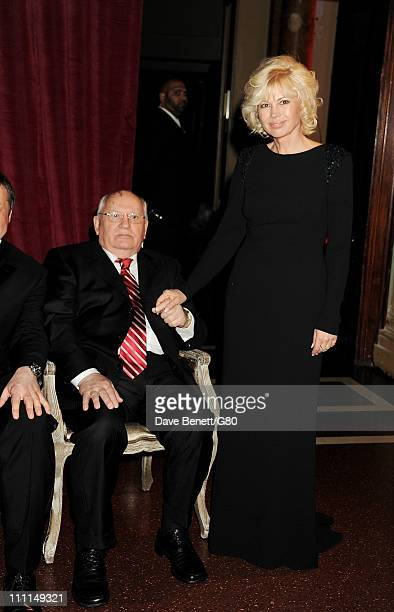 Former Soviet leader Mikhail Gorbachev and daughter Irina Virganskaya attend the Gorby 80 Gala at the Royal Albert Hall on March 30 2011 in London...