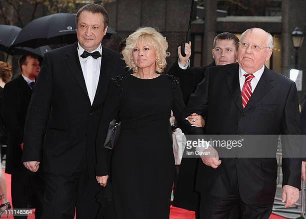 Former Soviet leader Mikhail Gorbachev and his daughter Irina Virganskaya and her husband Andrey Trukhachev attend the Gorby 80 Gala at the Royal...