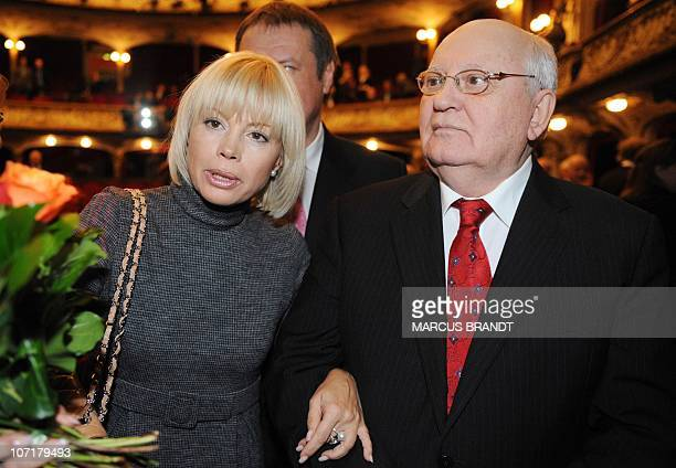 Former Soviet leader Mikhail Gorbachev and his daughter Irina Virganskaya are pictured on November 28 2010 in Hamburg northern Germany after...