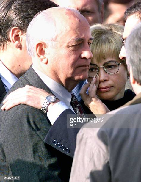 Former Soviet Leader Mikhail Gorbachev and his daughter Irina are comforted upon their arrival from Germany at Vnukovo II airport 21 September 1999...