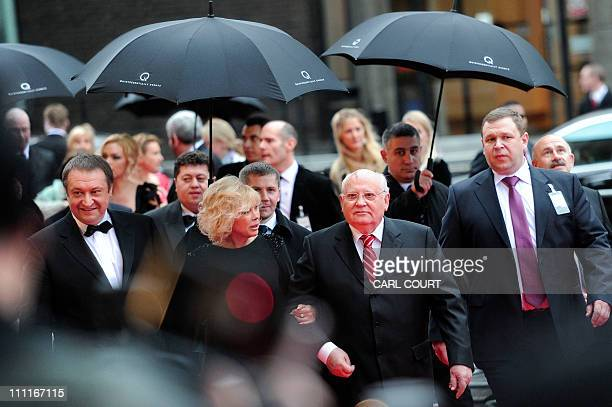 Former Soviet leader Mikhail Gorbachev and his daughter Irina Virganskaya arrive for the celebration of his 80th birthday at the Royal Albert Hall in...