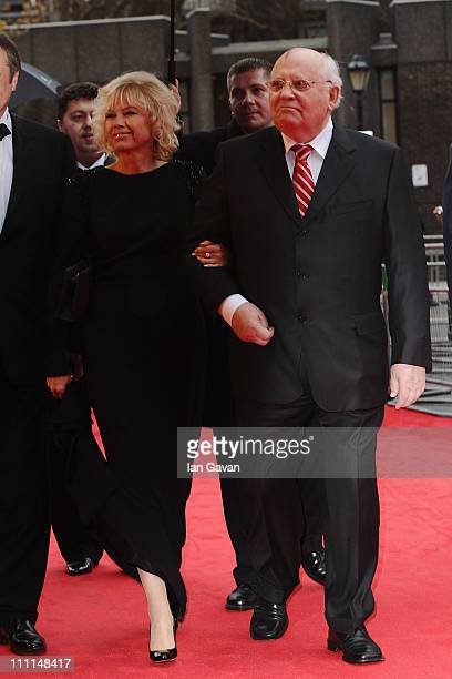 Former Soviet leader Mikhail Gorbachev and his daughter Irina Virganskaya attend the Gorby 80 Gala at the Royal Albert Hall on March 30 2011 in...