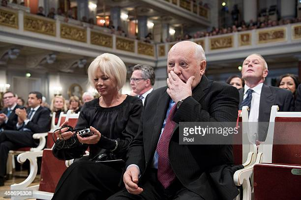 Former Soviet Leader Mikhail Gorbachev and his daughter Irina Wirganskaja attend a ceremony to celebrate the 25th anniversary of the fall of the...