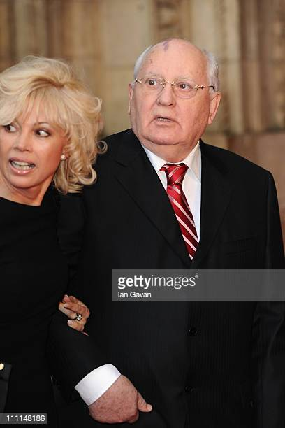 Former Soviet leader Mikhail Gorbachev and Irina Virganskaya attend the Gorby 80 Gala at the Royal Albert Hall on March 30 2011 in London England The...