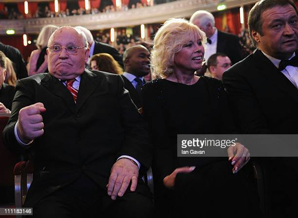 Former Soviet Leader Mikhail Gorbachev and Irina Virganskaya during the Gorby 80 Gala at the Royal Albert Hall on March 30 2011 in London England The...