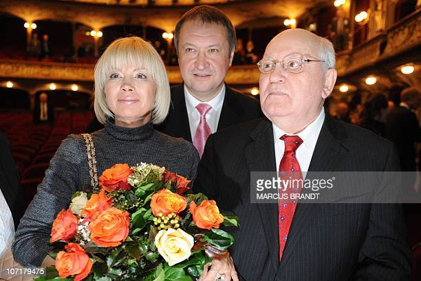 Former Soviet leader Mikhail Gorbachev his daughter Irina Virganskaya and her husband Andrey Trukhachev are pictured on November 28 2010 in Hamburg...