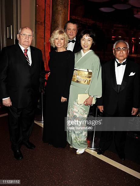 Former Soviet leader Mikhail Gorbachev Irina Virganskaya Andrey Trukhachev guest and Shoo Iwasaki attend the Gorby 80 Gala at the Royal Albert Hall...