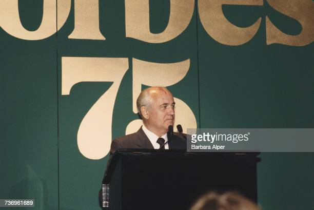 Former Soviet leader Mikhail Gorbachev speaking at the Forbes Magazine 75th Anniversary celebration at Radio City Music Hall in New York City 11th...