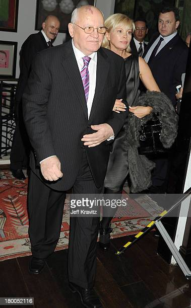Former Soviet President Mikhail Gorbachev and daughter Irina Virganskaya attend the MTV Europe Music Awards Free Your Mind Award Presentation during...