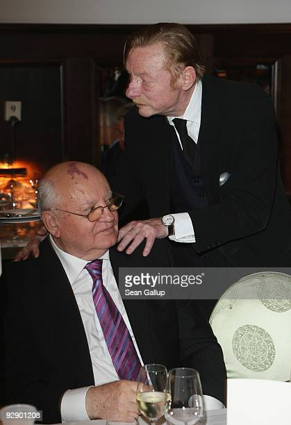 Former Soviet President Mikhail Gorbachev and German actor Otto Sander attend the the Free Your Mind Award at the Free Your Mind Award Presentation...