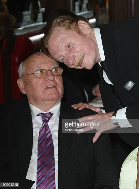 Former Soviet President Mikhail Gorbachev and German actor Otto Sander attend the MTV Europe Music Awards Free Your Mind Award Presentation at the...