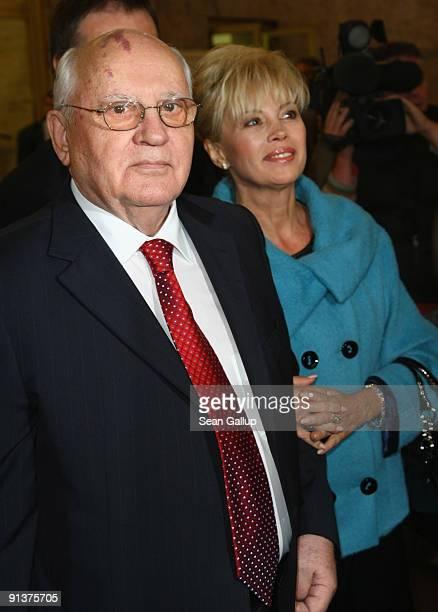 Former Soviet President Mikhail Gorbachev and his daughter Irina Virginskaya attend the 2009 Quadriga Awards on October 3 2009 in Berlin Germany