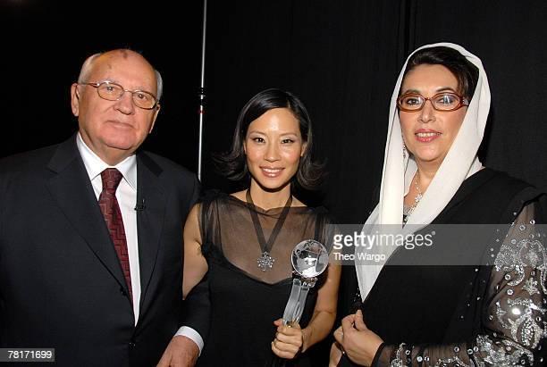 Former Soviet President Mikhail Gorbachev Lucy Liu and Benazir Bhutto * EXCLUSIVE *