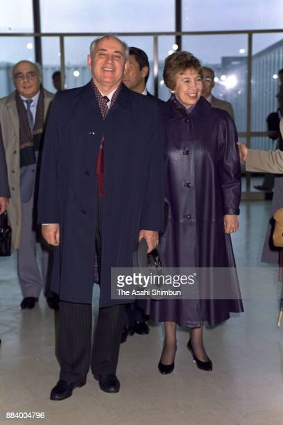 Former Soviet Union President Mikhail Gorbachev and his wife Raisa are seen on arrival at Narita International Airport on April 11 1992 in Narita...