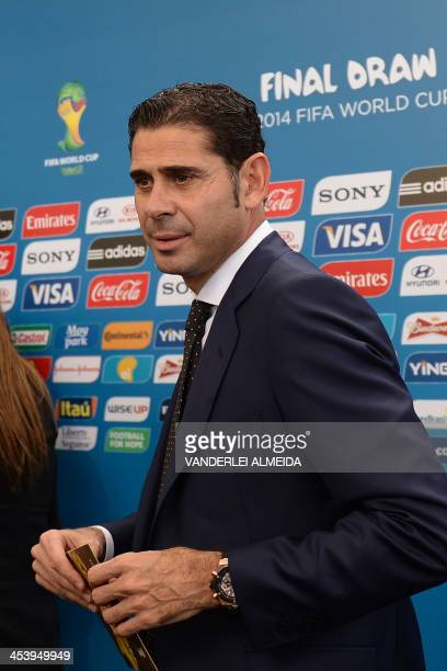 Former Spain and Real Madrid star Fernando Hierro arrives for the final draw of the Brazil 2014 FIFA World Cup in Costa do Sauipe Bahia state Brazil...