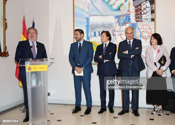 Former Spanish Culture and Sports Minister Inigo Mendez de Vigo the new Spanish Culture and Sports Minister Maxim Huerta and ex Spanish Culture...