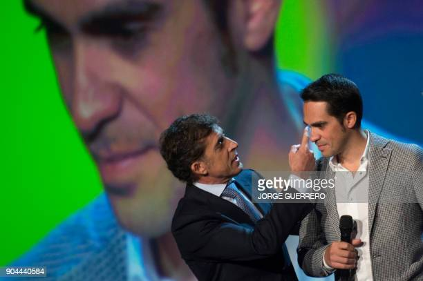 Former Spanish cyclist Perico Delgado and Spanish cyclist Alberto Contador take part in the presentation of the 2018 Vuelta cycling tour of Spain in...